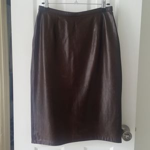 Leather Chocolate Brown Croc Embossed Pencil Skirt